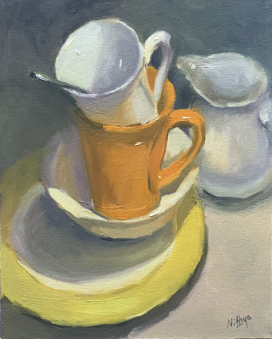 Origial Oil Painting - Arrangement of Cups