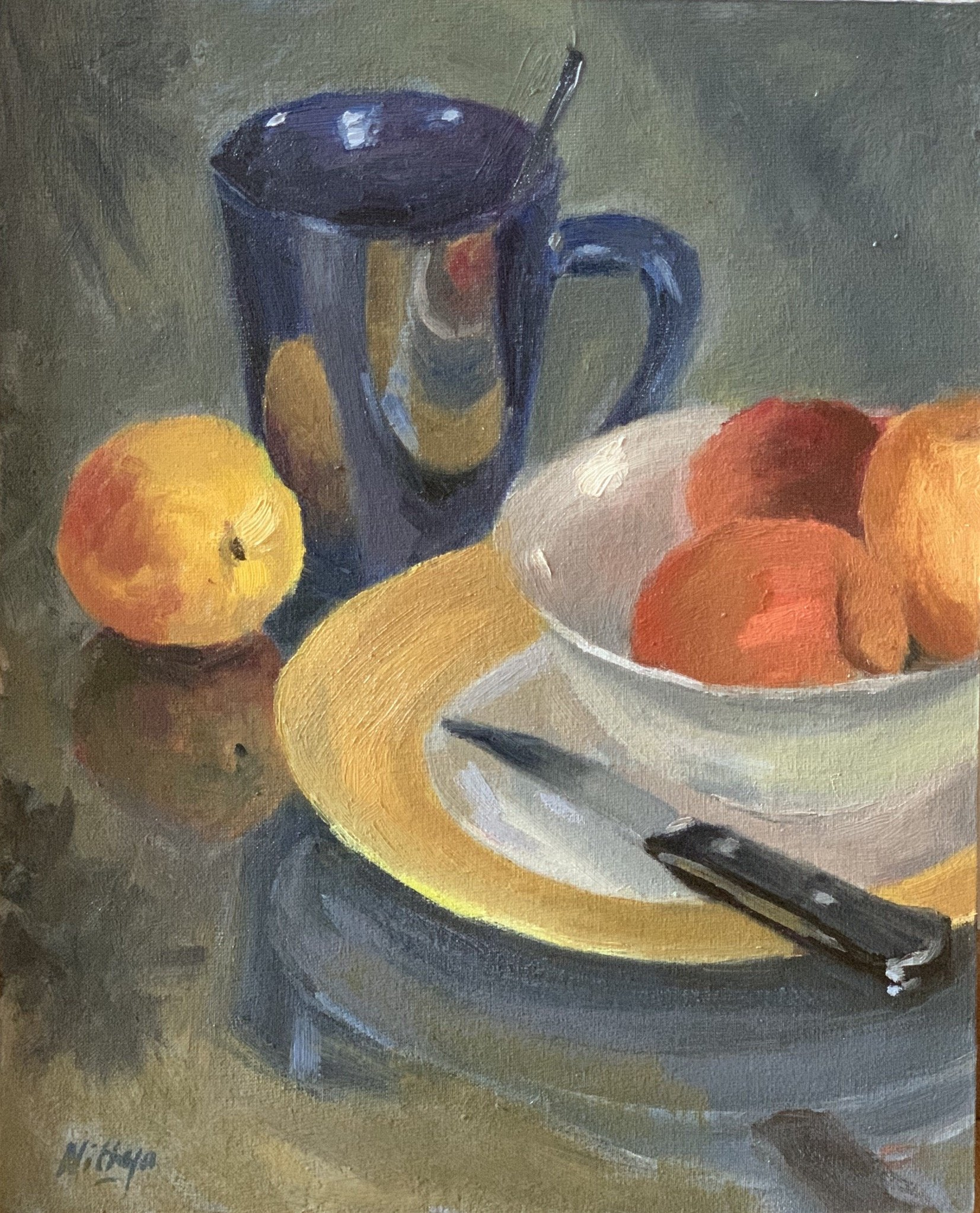 Original Oil Painting - Still life with peaches