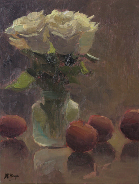 Still life with Roses and Plums - Original Oil Painting