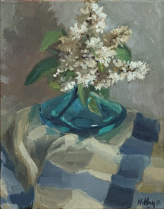 Original Oil Painting - Lilacs in Blue Vase