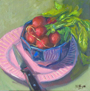 Origial Oil Painting - Bunch of Radishes