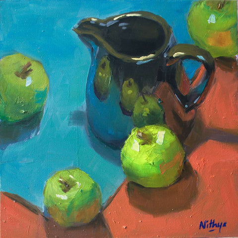 Small Oil Painting - Apples on Red and Blue