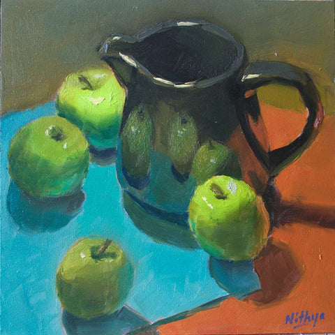 Small Oil Painting - Apples on Red and Blue - 2