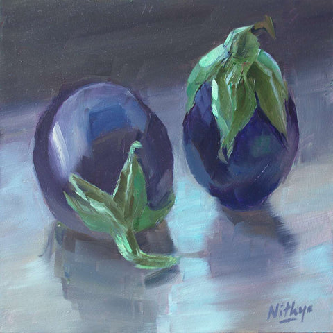 Small Oil Painting - Eggplant Reflections