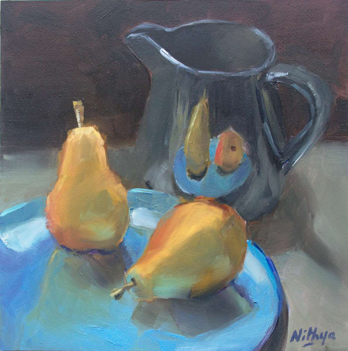 Small Oil Painting - Pears and Black Jar