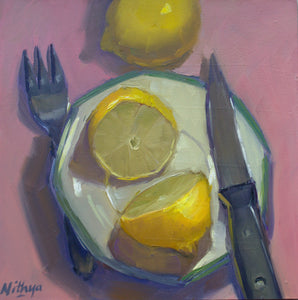 Small Oil Painting - Lemons from the top
