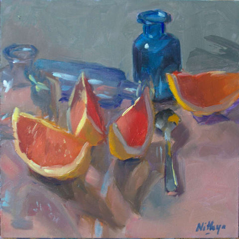 Small Oil Painting - Grapefruit Reflections 2