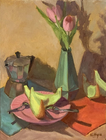 Original Oil Painting - Tulips and Melon Slices