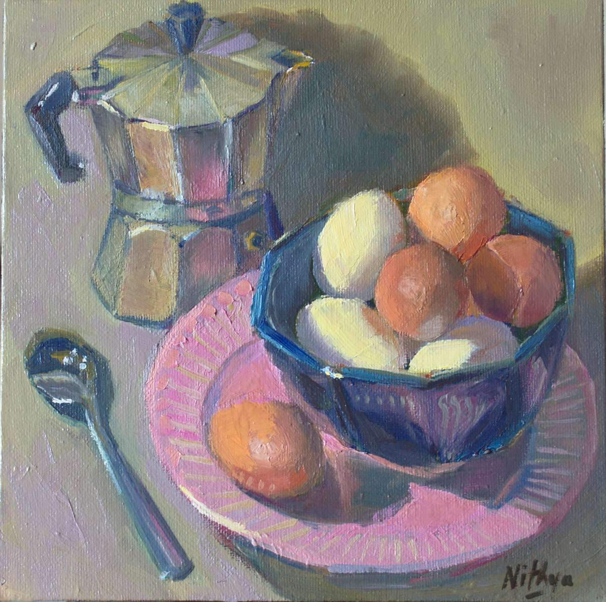 Origial Oil Painting - Eggs and Coffee