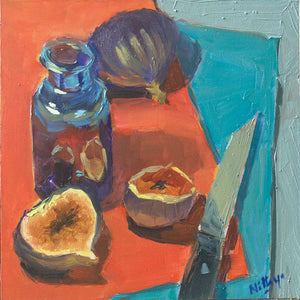 Small Oil Painting - Figs on Red and Blue