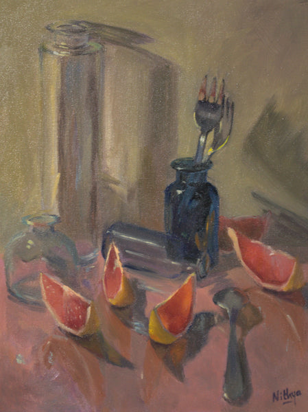 Large Still Life - Grapefruits and Glass