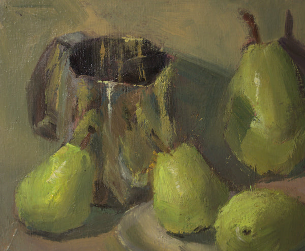 Original Oil Painting - Green Pears and Creamer