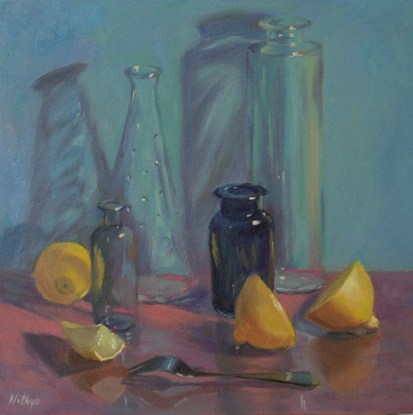 Citrus reflections on pink - Large oil painting