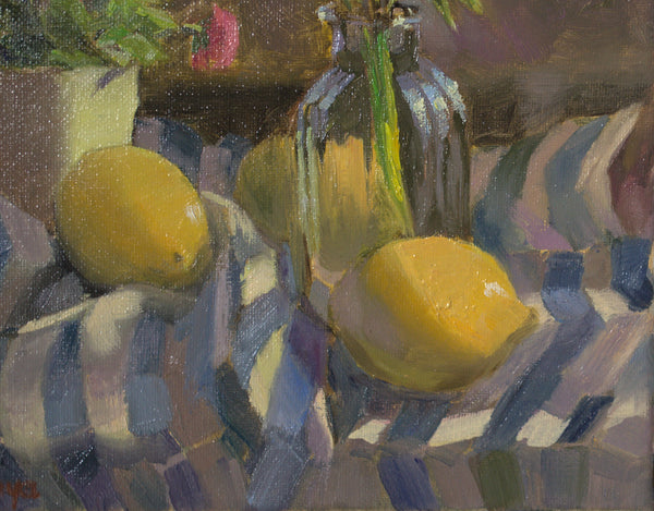 Original Oil Painting - Lemons and Stripes