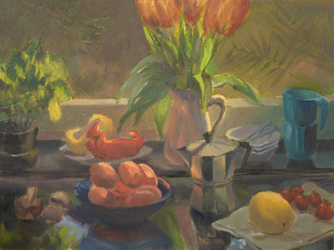 Large Still Life Oil Painting - My Kitchen Counter