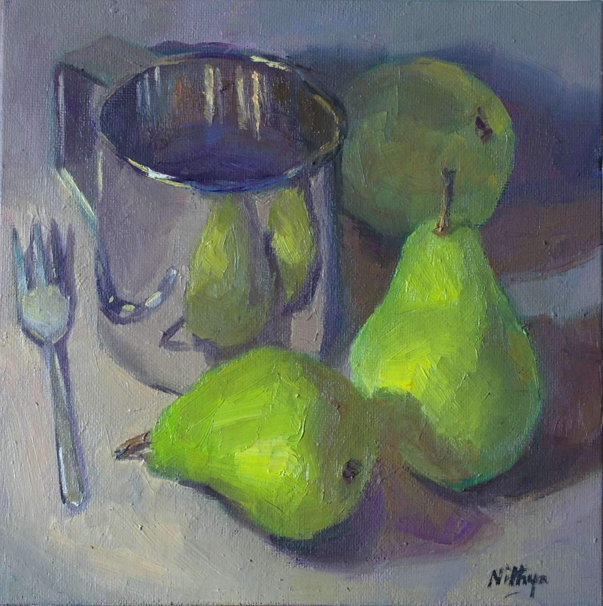 Origial Oil Painting - Pear reflections on Silver