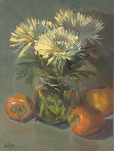 Persimmons and Mums - Original Oil Painting