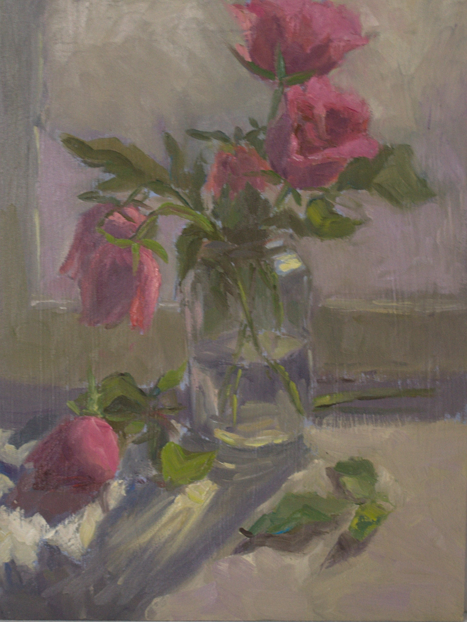 Painting of Roses - Pink roses in the evening sun