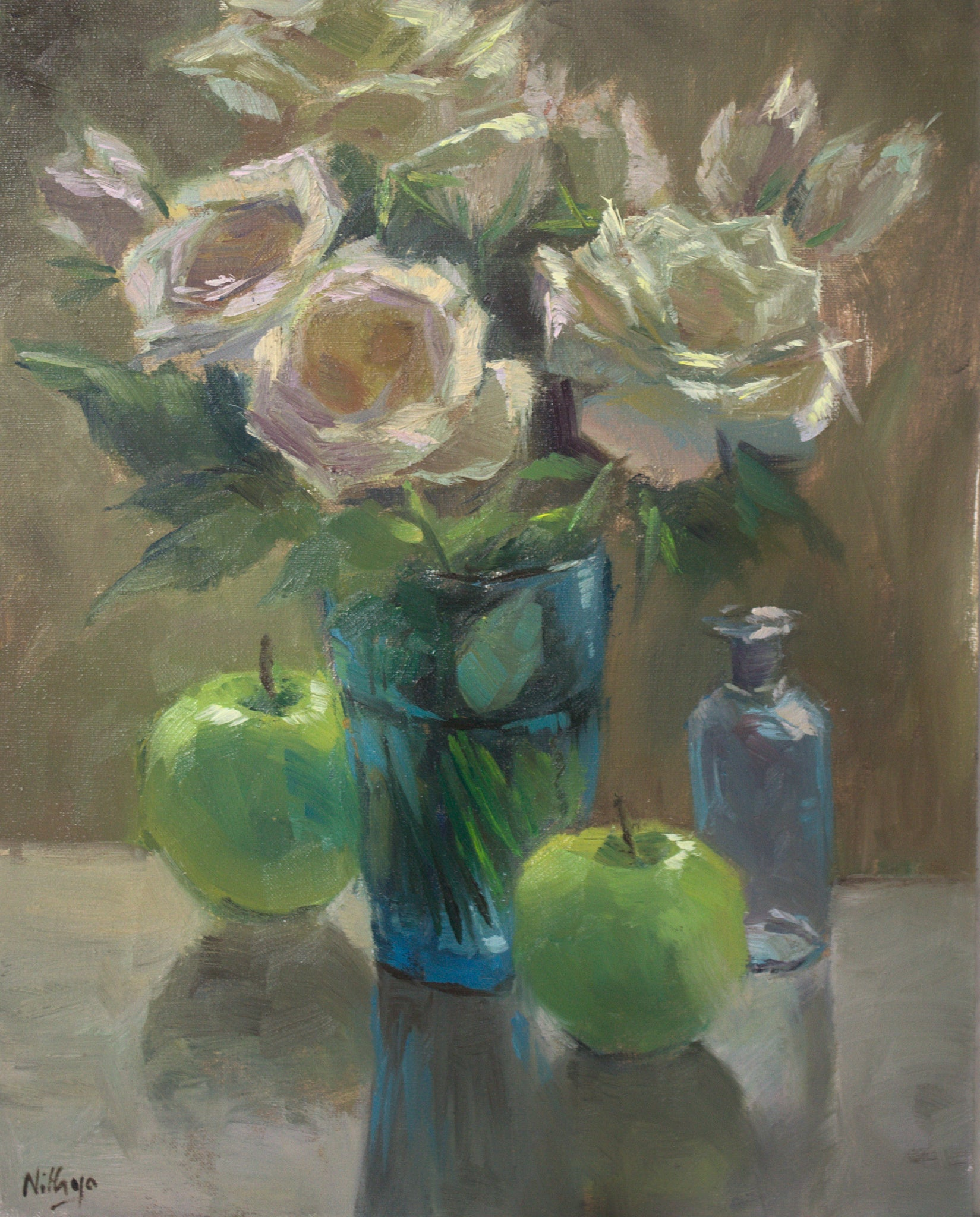 Roses and Apples - Original Oil Painting