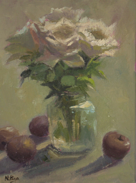 Still Life with Roses and Plums under evening light