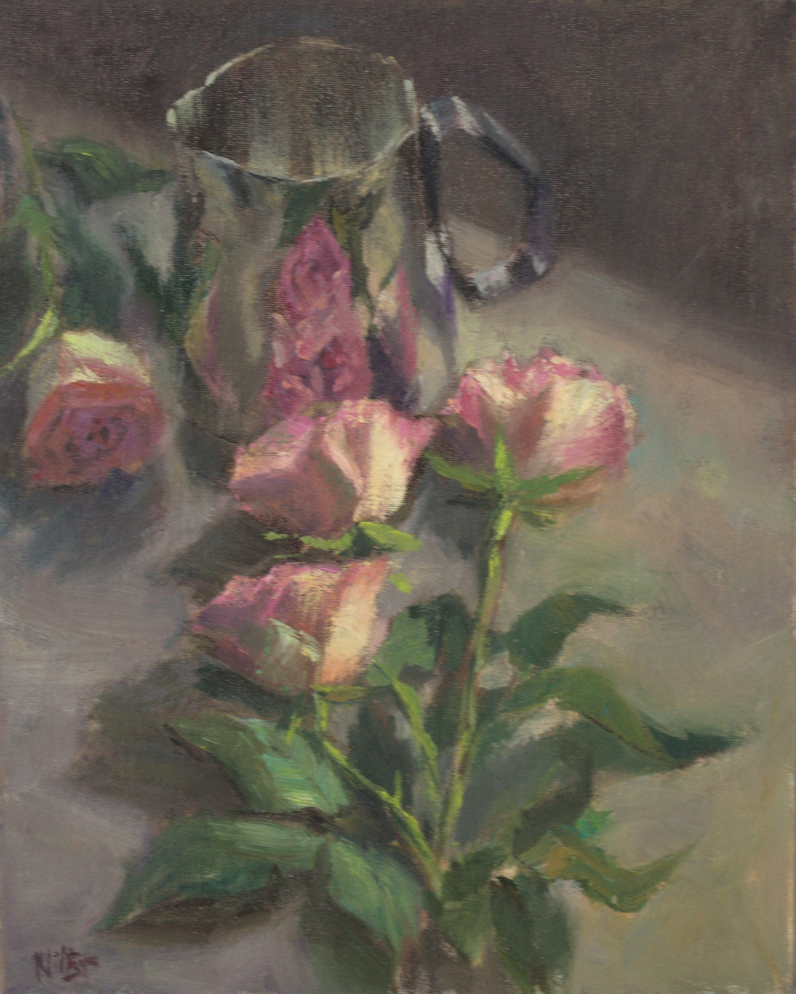 Roses and Reflections - Original Oil Painting