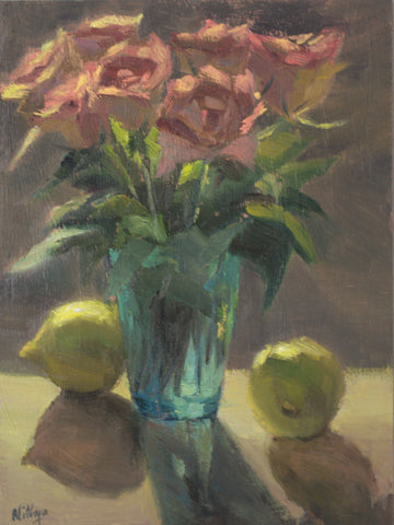 Roses and Lemons under Sunlight - Original Oil Painting
