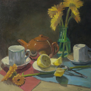 Tea time still life with lemons - Large oil painting