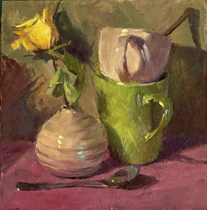 Stilllife Painting - Green cup on Pink