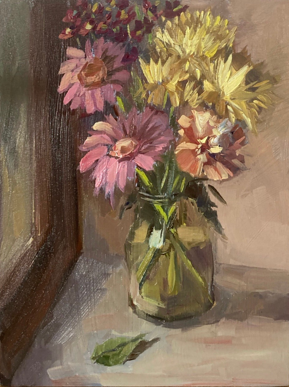 Floral Painting - Flowers by the window