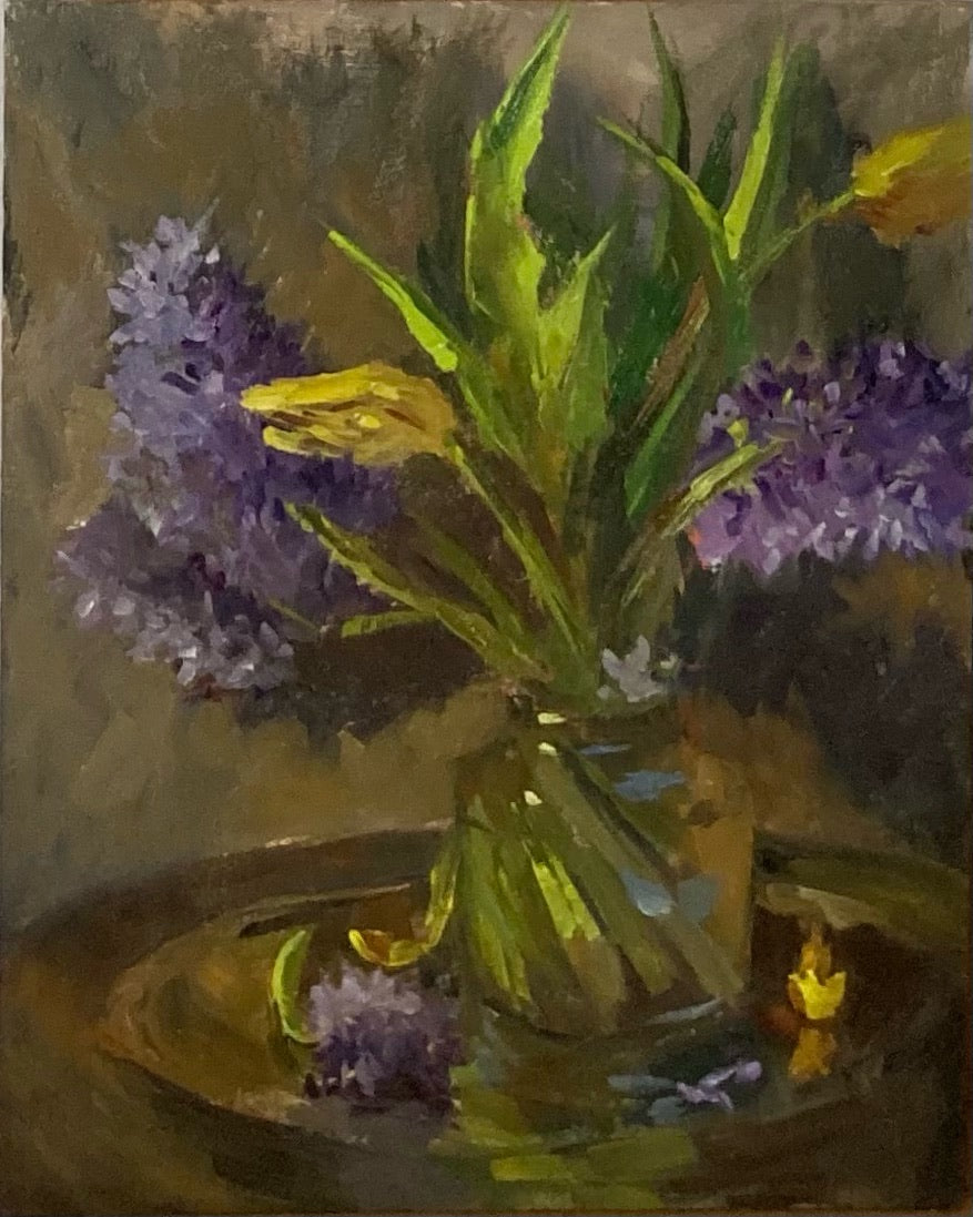 Floral Painting - Tulips and Purple Hyacinths 2