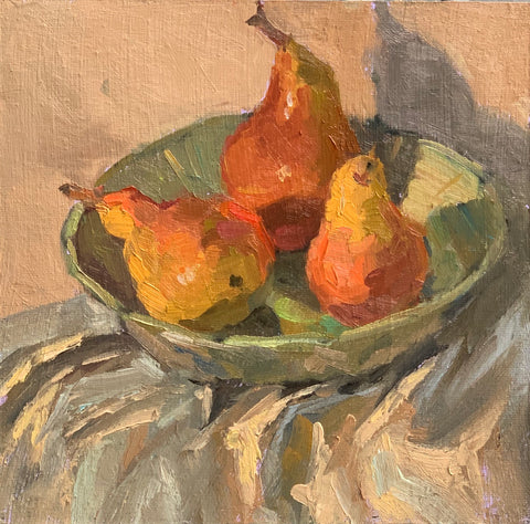 Pears on white - Original Oil Painting