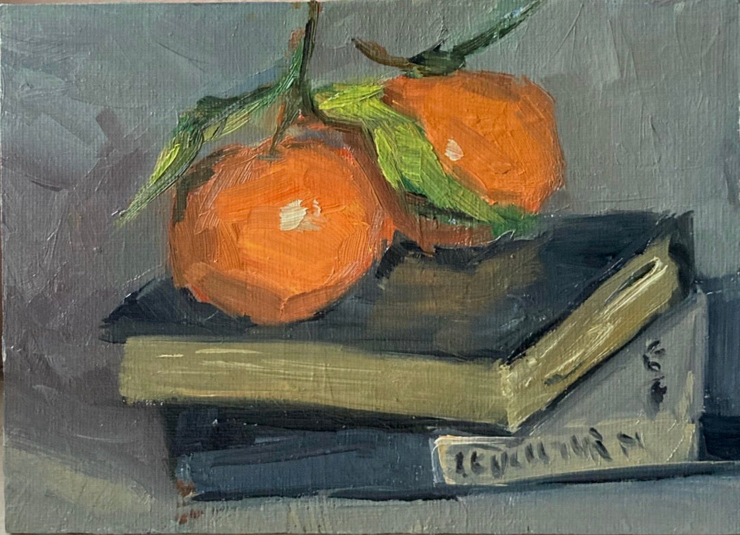 Small Stilllife Painting - Satsumas on Grey