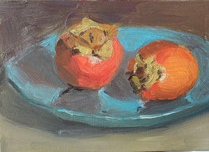 Small stilllife with persimmons on blue