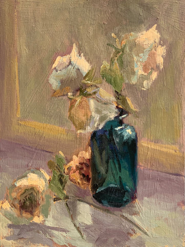 Wilting white roses - Original Oil Painting