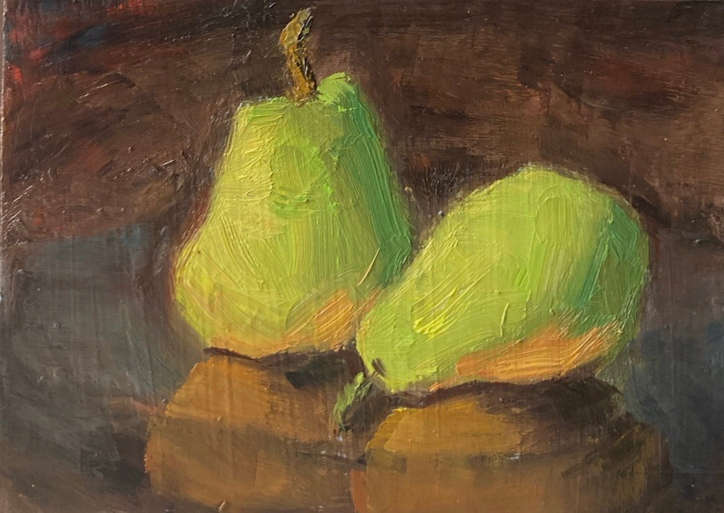 Small still life painting - Pears on copper