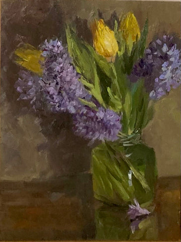 Floral Painting - Tulips and Purple Hyacinths