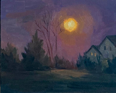 Landscape Painting - Snow Moon Rising