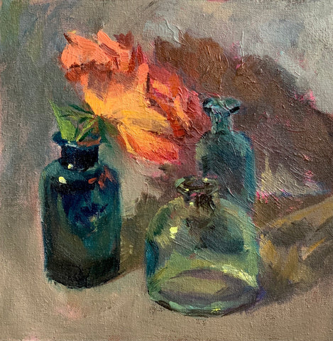 Three bottles and a rose - original oil painting