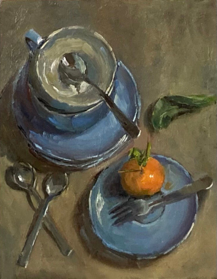 Stilllife Painting - Cups and a Clementine