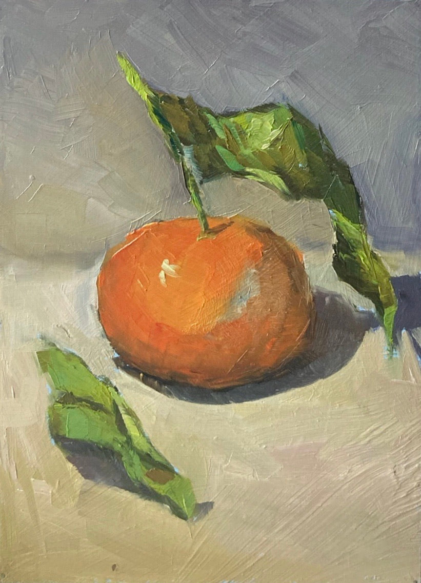 Small Stilllife Painting - Clementine with leaves