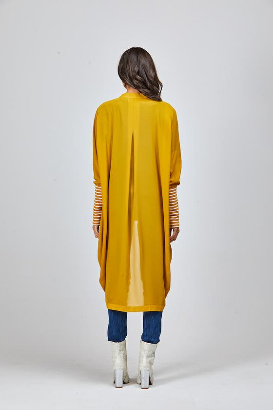 Basic Striped Cuff Kimono-Long (Mustard)