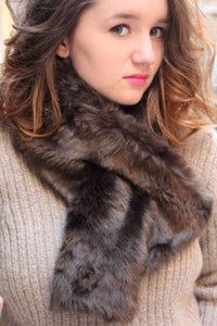 Fake fur scarf. Chocolate brown fur scarf. Brown fur neckwarmer.