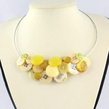 Load image into Gallery viewer, Yellow button necklace, Unique eco jewelry, Eco design summer necklace, Unusual statement necklace, eco jewellery, yellow bib necklace