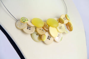 Yellow button necklace, Unique eco jewelry, Eco design summer necklace, Unusual statement necklace, eco jewellery, yellow bib necklace