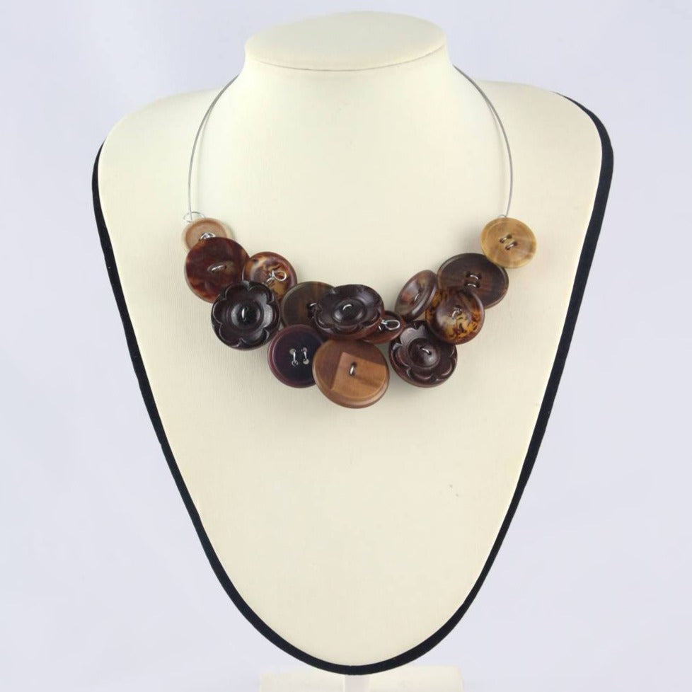 Brown eco design necklace, brown button bib necklace, Unusual statement necklace, eco jewellery, Upcycled tortoise shell pattern necklace