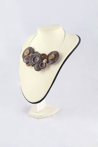 Brown button necklace, large button bib necklace, Unusual statement necklace, eco jewellery, Upcycled button bib necklace