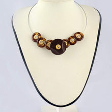 Load image into Gallery viewer, Brown button necklace, Unique eco jewelry, Eco design tortoise shell design button bib necklace, Unusual statement necklace, eco jewellery