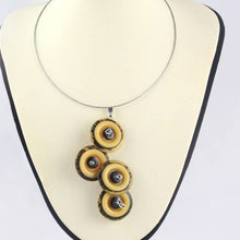 Load image into Gallery viewer, Mustard button pendant necklace, large black mustard vintage button necklace, Statement necklace, eco jewellery, Upcycled button necklace