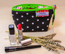 Load image into Gallery viewer, Make up bag, Cosmetic bag, zip up pouch, Coin purse, lavender bag, Tampon pouch, makeup bag, small purse, lipstick holder, Small makeup bag