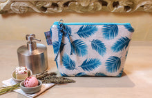 Load image into Gallery viewer, Turquoise blue zipper pouch. Cosmetic bag. Medium sized makeup bag. Toiletry bag. Travel cosmetic case. Medium zipper.
